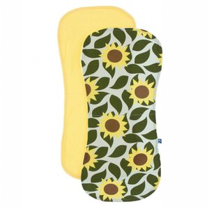 Kickee Pants Burp Cloth Set (Aloe Sunflower and Zest - One Size)