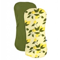 Kickee Pants Burp Cloth Set (Lime Blossom Lemon Tree and Pesto - One Size)