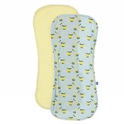 Kickee Pants Burp Cloth Set (Spring Sky Scooter and Lime Blossom - One Size)