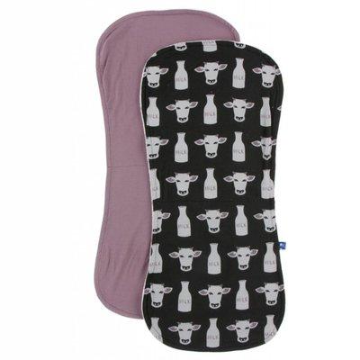 Kickee Pants Burp Cloth Set (Zebra Tuscan Cow and Raisin - One Size)