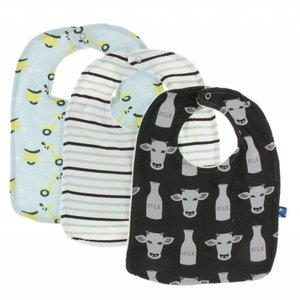 Kickee Pants Bib Set (Zebra tuscan cow, tuscan afternoon stripe and spring sky scooter - One Size)