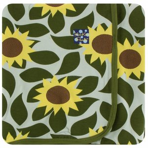 Kickee Pants Print Swaddling Blanket (Aloe Sunflower - One Size)