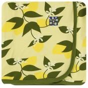 Kickee Pants Print Swaddling Blanket (Lime Blossom Lemon Tree - One Size)