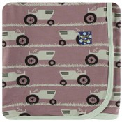 Kickee Pants Print Swaddling Blanket (Raisin Tractor and Grass - One Size)