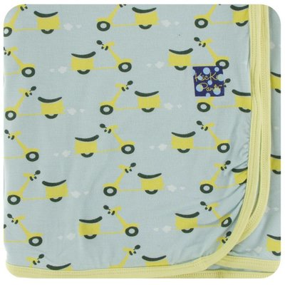 Kickee Pants Print Swaddling Blanket (Spring Sky Scooter - One Size)