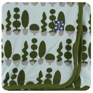 Kickee Pants Print Swaddling Blanket (Spring Sky Villa Garden - One Size)