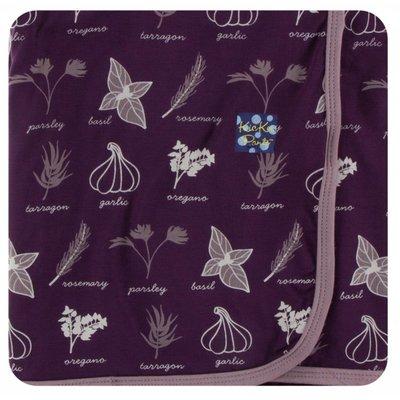 Kickee Pants Print Swaddling Blanket (Wine Grapes Herbs - One Size)