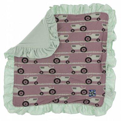 Kickee Pants Print Ruffle Bamboo Lovey (Raisin Tractor and Grass - One Size)