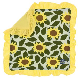 Kickee Pants Print Ruffle Bamboo Lovey (Aloe Sunflower - One Size)
