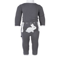 Kickee Pants Holiday Layette Applique Coverall (Stone Bunny)