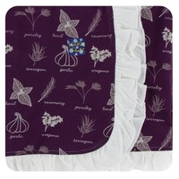 Kickee Pants Print Ruffle Stroller Blanket (Wine Grapes Herbs - One Size)