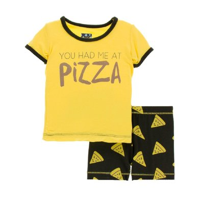 Kickee Pants Women's Print Fitted Short Sleeve Pajama Set with Shorts (You Had Me At Pizza)
