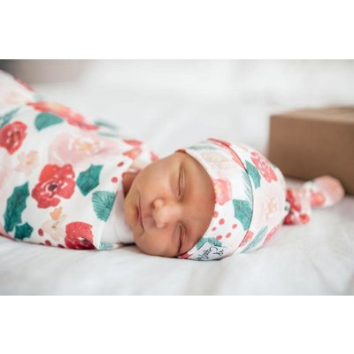 Copper Pearl newborn top knot hat - holly