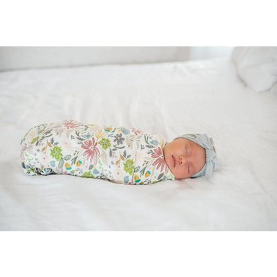 Copper Pearl knit swaddle blanket - olive