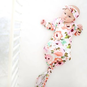 Posh Peanut WINTER PEONY LAYETTE KNOTTED GOWN