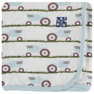 Kickee Pants Print Swaddling Blanket (Natural Tractor and Grass - One Size)