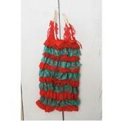 Posh Peanut Lace Romper (Red/Green)