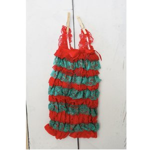 Posh Peanut Lace Romper (Red/Green)