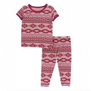Kickee Pants Print Short Sleeve Pajama Set (Strawberry Mayan Pattern)