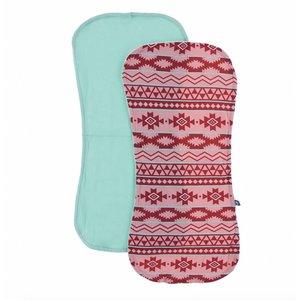 Kickee Pants Burp Cloth Set (Strawberry Mayan Pattern and Glass - One Size)