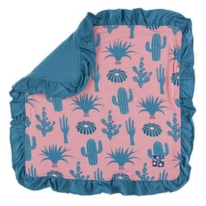 Kickee Pants Print Ruffle Bamboo Lovey (Strawberry Cactus - One Size)