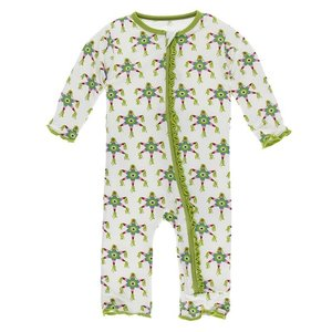 Kickee Pants Print Muffin Ruffle Coverall with Zipper (Natural Piñata)