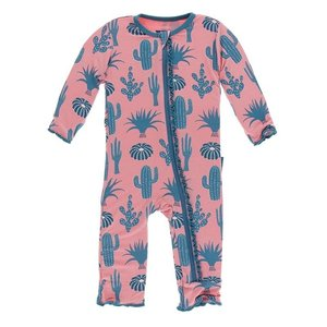 Kickee Pants Print Muffin Ruffle Coverall with Zipper (Strawberry Cactus)