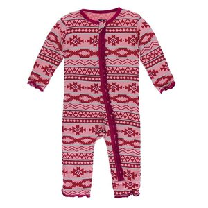 Kickee Pants Print Muffin Ruffle Coverall with Zipper (Strawberry Mayan Pattern)