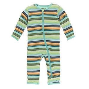 Kickee Pants Print Coverall with Zipper (Cancun Glass Stripe)