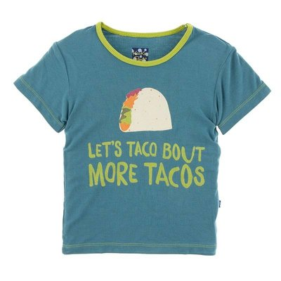Kickee Pants Short Sleeve Easy Fit Piece Print Tee (Seagrass Let's Talk About More Tacos)