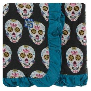 Kickee Pants Print Ruffle Stroller Blanket (Dia de los Muertos - One Size)