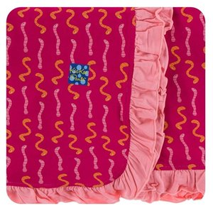 Kickee Pants Print Ruffle Stroller Blanket (Rhododendron Worms - One Size)