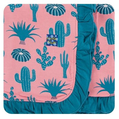 Kickee Pants Print Ruffle Stroller Blanket (Strawberry Cactus - One Size)
