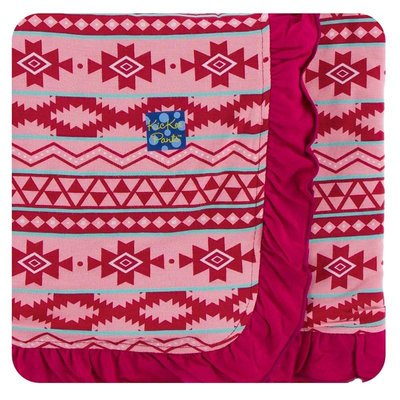 Kickee Pants Print Ruffle Stroller Blanket (Strawberry Mayan Pattern - One Size)