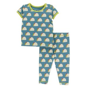 Kickee Pants Print Short Sleeve Pajama Set (Seagrass Tacos)