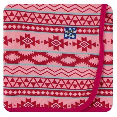 Kickee Pants Print Swaddling Blanket (Strawberry Mayan Pattern - One Size)
