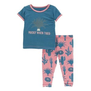 Kickee Pants Print Short Sleeve Pajama Set (Strawberry Cactus)