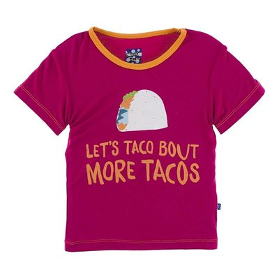 Kickee Pants Short Sleeve Easy Fit Piece Print Tee (Rhododendron Let's Talk About More Tacos)