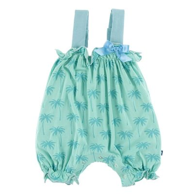 Kickee Pants Print Gathered Romper with Bow (Glass Palm Trees)