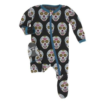 Kickee Pants Print Footie with Zipper (Dia de los Muertos)