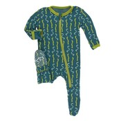 Kickee Pants Print Footie with Zipper (Oasis Worms)