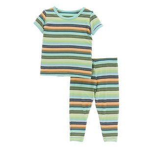 Kickee Pants Print Short Sleeve Pajama Set (Cancun Glass Stripe )