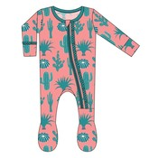 Kickee Pants Muffin Ruffle Footie with Zipper (Strawberry Cactus)