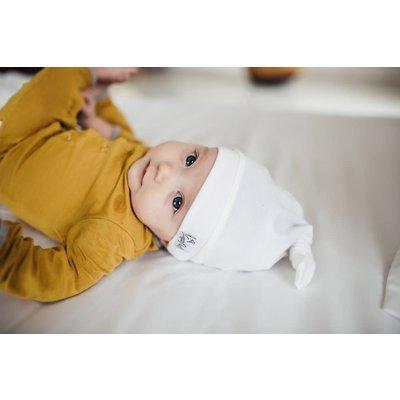 Copper Pearl newborn top knot hat - dove