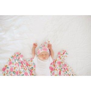 Copper Pearl newborn top knot hat - siena