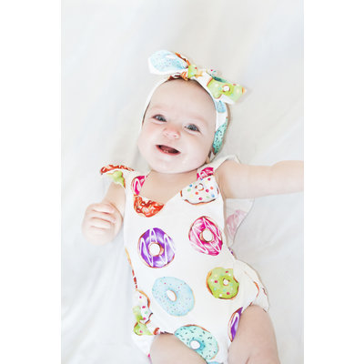 Lincoln&Lexi Donut Party Romper & Headband Set