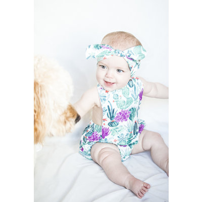 Lincoln&Lexi The Cali Cactus Romper & Headband Set