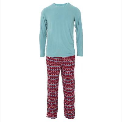 Kickee Pants Men's Holiday Long Sleeve Pajama Set (Nordic Print)