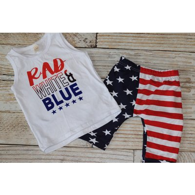 Lincoln&Lexi Rad White & Blue Tank & Crop Set
