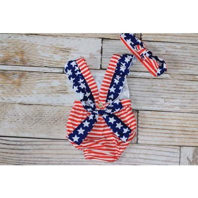Lincoln&Lexi The America Romper & Headband Set